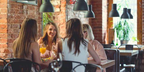 Talking women in a cafe